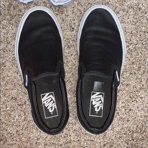 Vans leather slip on tennis shoes black 6.5